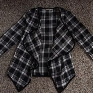 Sweaters - Plaid waterfall front cardigan